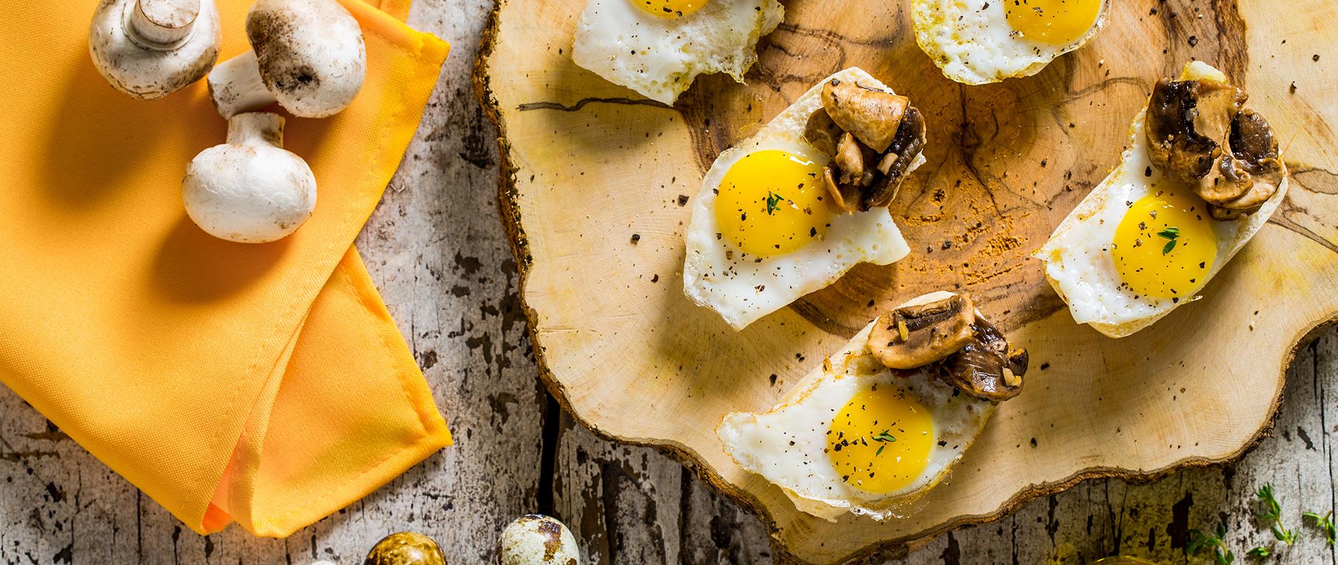 Montaditos de Nutrellinhas, ovo e cogumelos