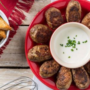 Mini Kaftas com iogurte e snacks integrais