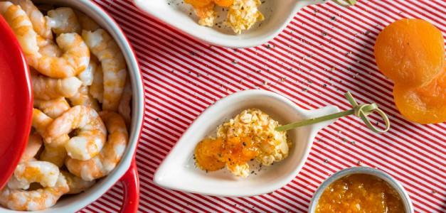 Camarão crispy com geleia de damasco